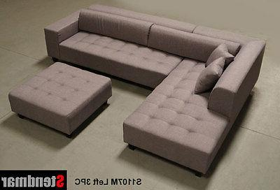 4PC DARK GREY MICROFIBER SECTIONAL SOFA CHAISE CHAIR OTTOM S