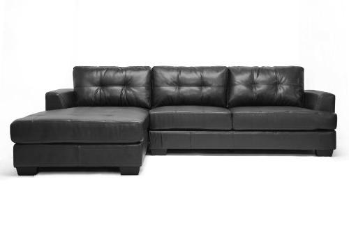 Baxton Black Leather Modern Sectional