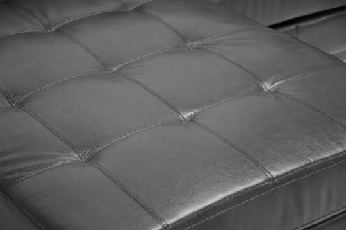 Baxton Dobson Black Leather Sectional
