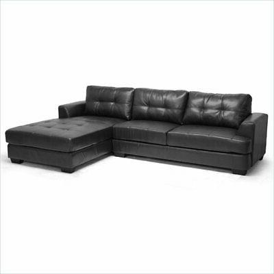 dobson black leather modern sectional