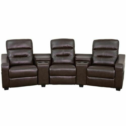 Durable LeatherSoft Theatre Sectional Sofa