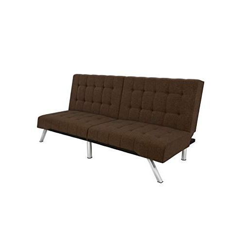 Pleasant Dhp Emily Futon Couch Bed Modern Sofa Design Includes Sturdy Chrome Legs And Rich Linen Upholstery Brown Inzonedesignstudio Interior Chair Design Inzonedesignstudiocom