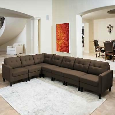 Emmie Mid 7-piece Sectional Set by grey dark brown Mo