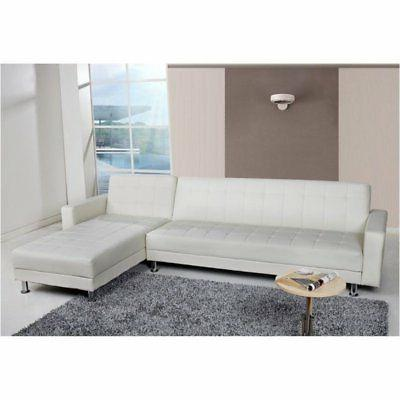 faux leather convertible sectional in white