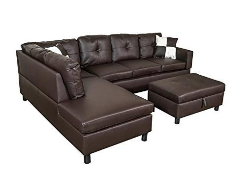 Leather Left-Facing Sectional Sofa Set Free Ottoman, Brown