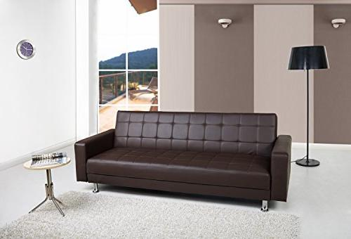 Gold Convertible Sectional Sofa Bed, Brown
