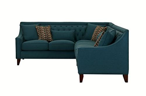 Iconic Chic Aberdeen Down Mix Contemporary Right Facing Sectional Teal
