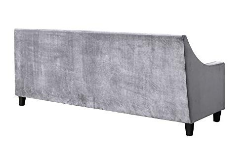 Iconic Sofa Arm Silver Nailhead Espresso Wood Couch Modern Contemporary,