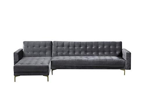 Iconic Home Convertible Sofa Bed L Shape Chaise Velvet Metal Y-Leg Contemporary, Right