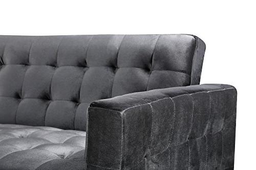 Iconic Convertible Sofa L Velvet Upholstered Metal Contemporary, Right Facing Sectional,