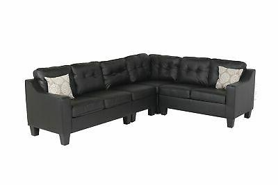 fur s295blackleather prime sectional sofa