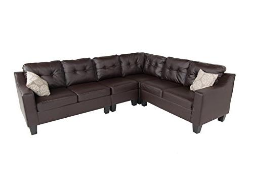 fur s295brownleather prime sectional sofa