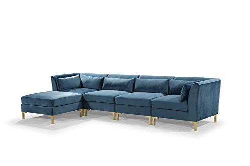 Iconic Girardi Modular Chaise Sectional Sofa Upholstered Solid Metal with Throw Teal
