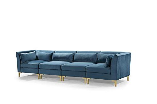 Iconic Girardi Chaise Sectional Upholstered Gold Metal Throw Teal