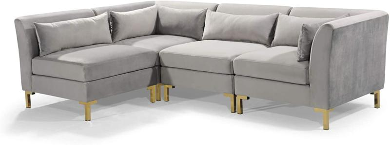 Iconic Modular Chaise Sectional Sofa Upholstered Gold