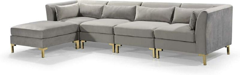 Iconic Home Girardi Modular Chaise Sectional Upholstered Solid Gold