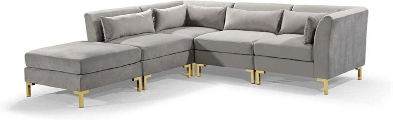 Iconic Chaise Sectional Sofa Upholstered Solid Gold
