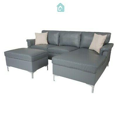 Gray Sectional Sofas With Ottoman Contemporary Living Room Furniture