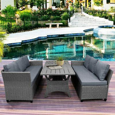 Gray Sectional Rattan Patio & Poly Wood Top Table