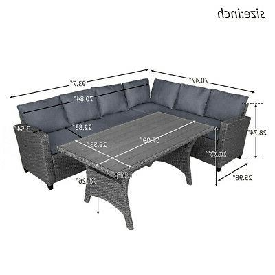 Gray Rattan Patio Sofa & Wood Table