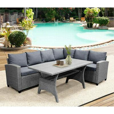 Gray Sectional Patio Sofa with & Table