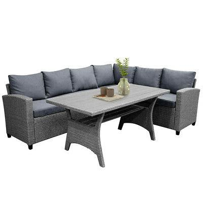 Gray Rattan Wicker Patio Sofa Cushion & Poly Wood Table