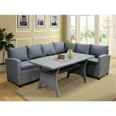 gray sectional rattan wicker patio sofa