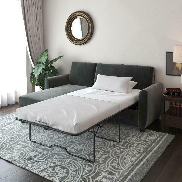 Gray Sleeper Sectional Bed Reversible chaise