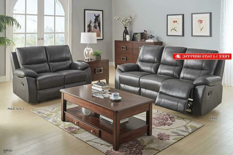 "Homelegance Reclining Sofa, 79"" Gray Genuine Leather"