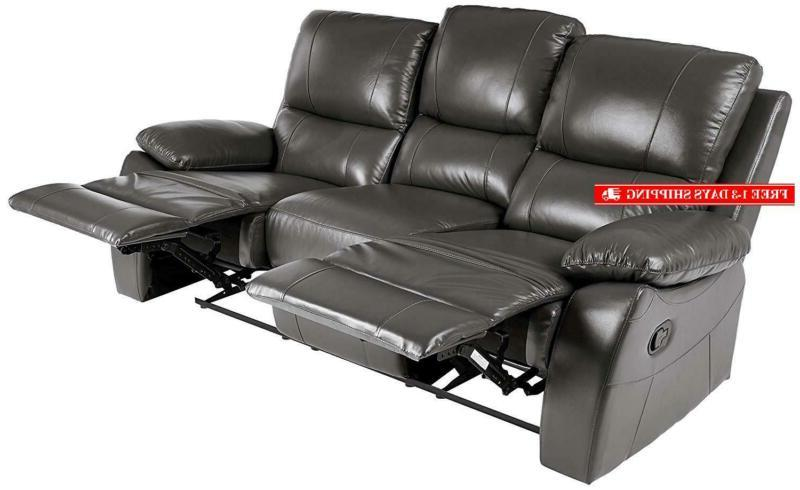Homelegance Manual Reclining Sofa, W, Gray Genuine Leather