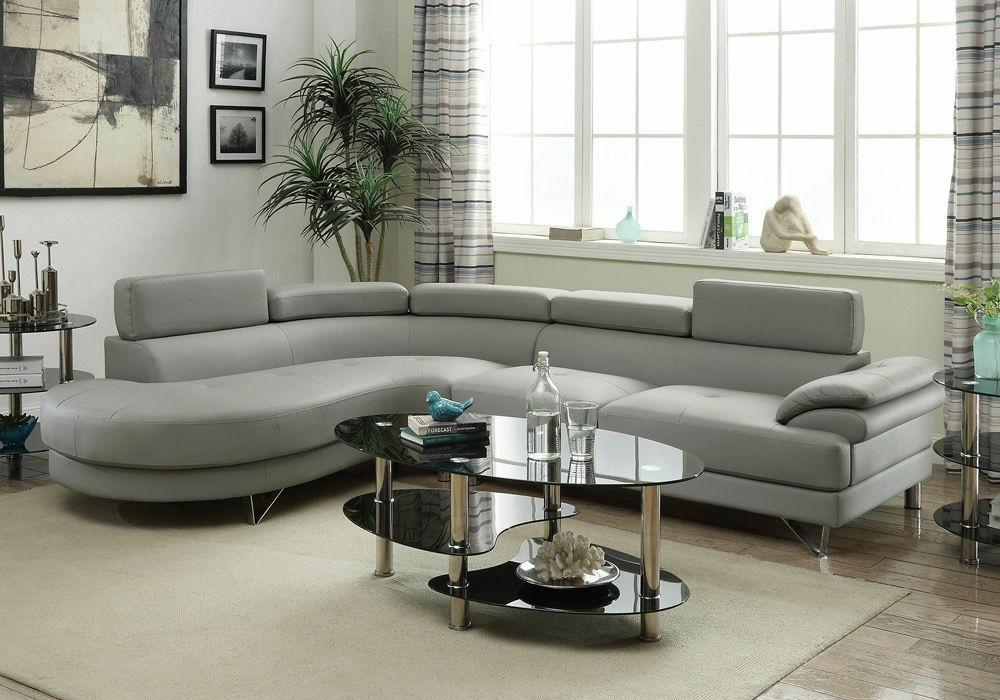 grey faux leather curved sectional sofa couch
