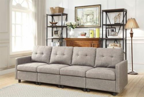 Grey Reversible Chaise Sectional Modern Set Microsuede