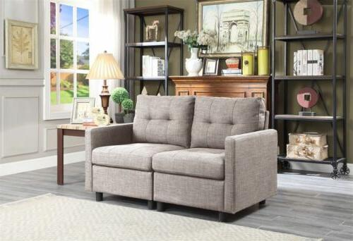Grey Linen L-Shape Chaise Sectional Modern Set