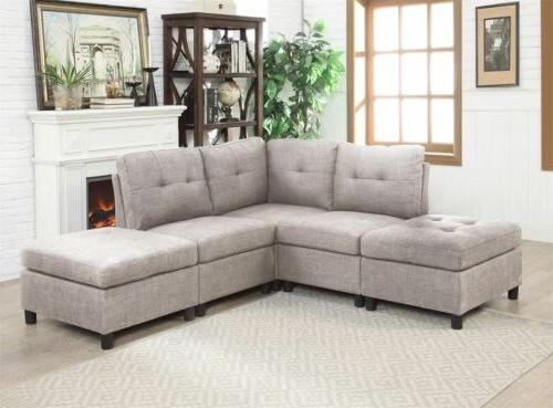 Sectional Set Couch Microsuede Reversible