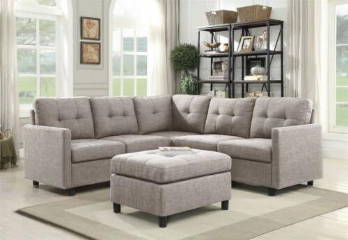grey linen l shape reversible chaise sectional