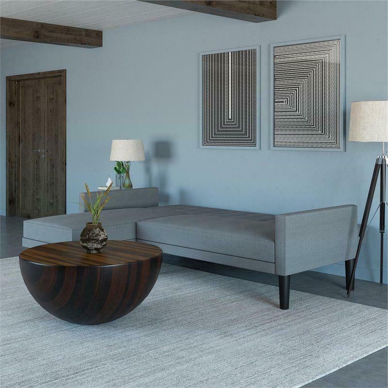 DHP Small Space Sectional Futon Light Grey Linen