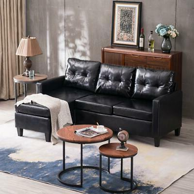 Hot PU L-shaped Chaise Couch for Room Black