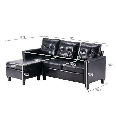 Hot Set PU Couch Room Black