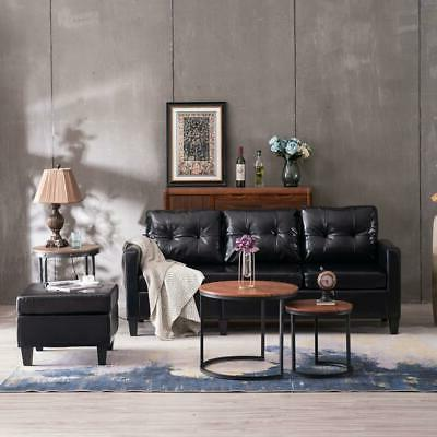 Hot PU Leather L-shaped Couch Living Room Black