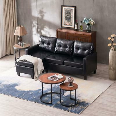 Hot Sectional Sofa PU Leather L-shaped Couch Living Black