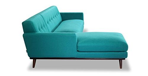 Kardiel Jackie Mid-Century Modern Sectional Turquoise Cashmere Wool