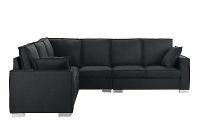 "Large 101.2"" Fabric Sofa, L-Shape Grey"