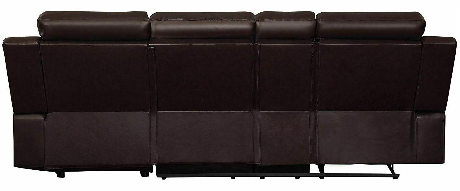Large With Recliner Couch Lounge Console Brown