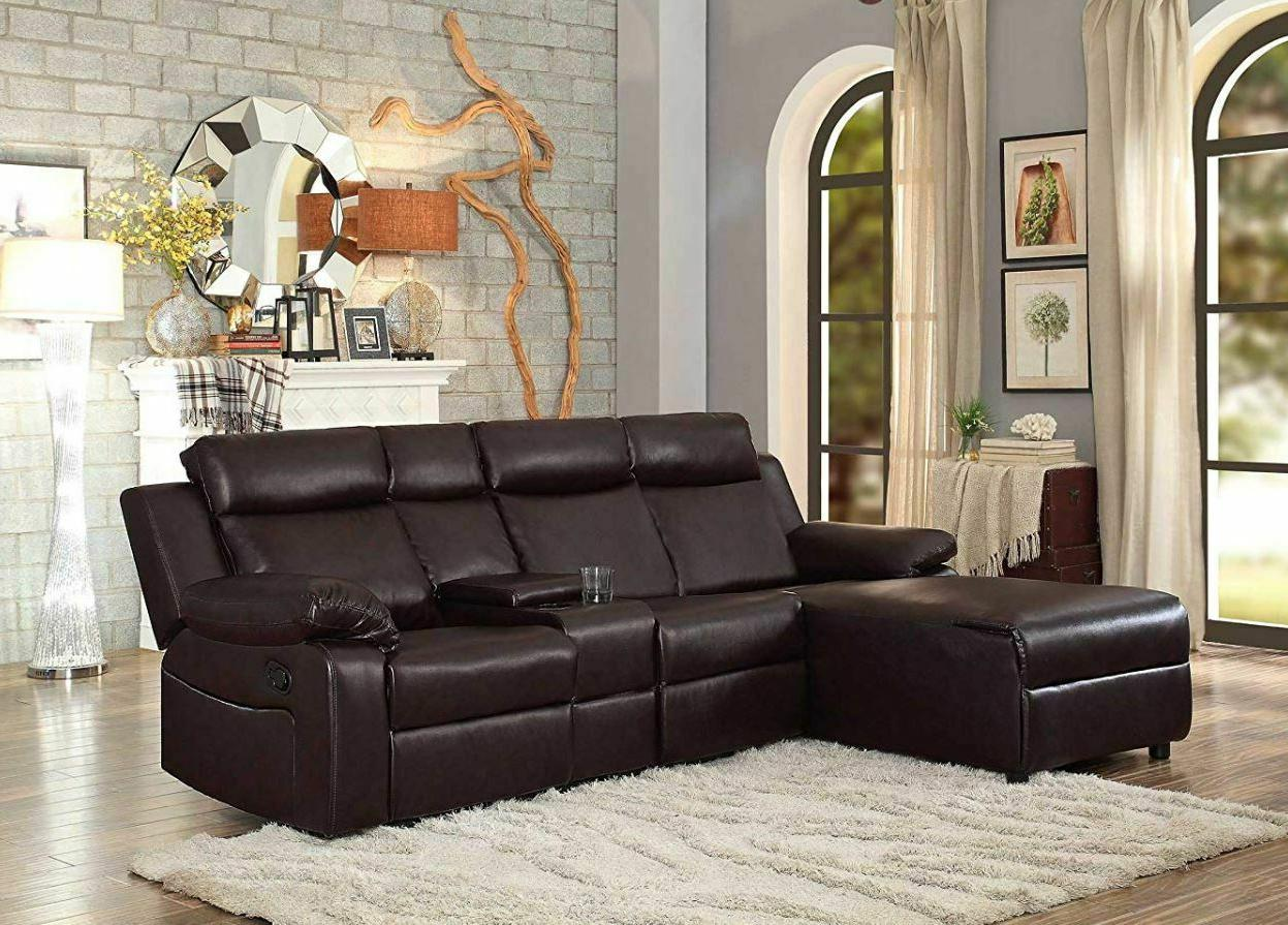 Awe Inspiring Large Reclining Sectional Sofa With Recliner Couch Chaise Lounge Console Brown Gmtry Best Dining Table And Chair Ideas Images Gmtryco