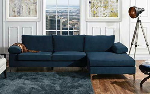 Large Sectional Sofa Velvet Fabric Upholstery Extra Wide Lounge