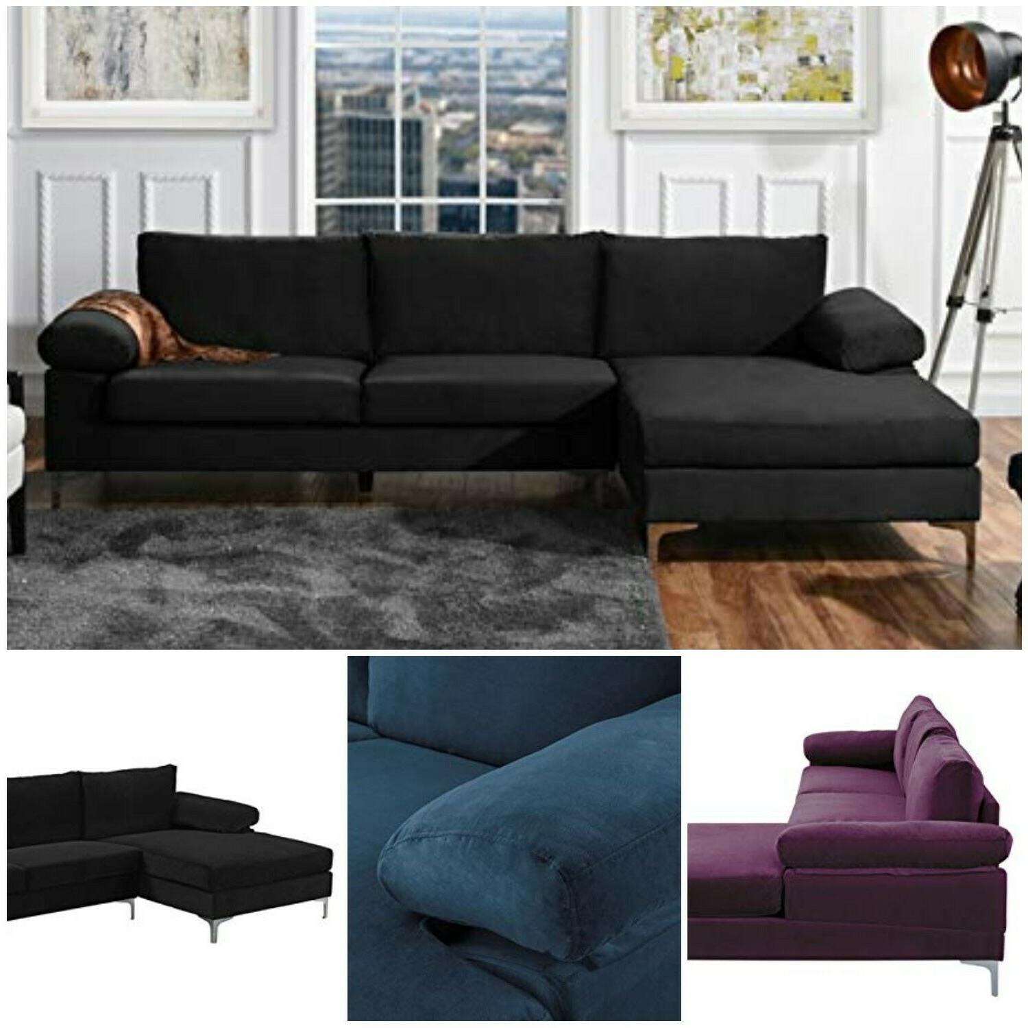 Large Sectional Sofa Velvet Fabric Upholstery L Shape Extra