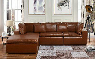 Leather Lounge Sectional Sofa, L Shape Couch with Wide Chaise