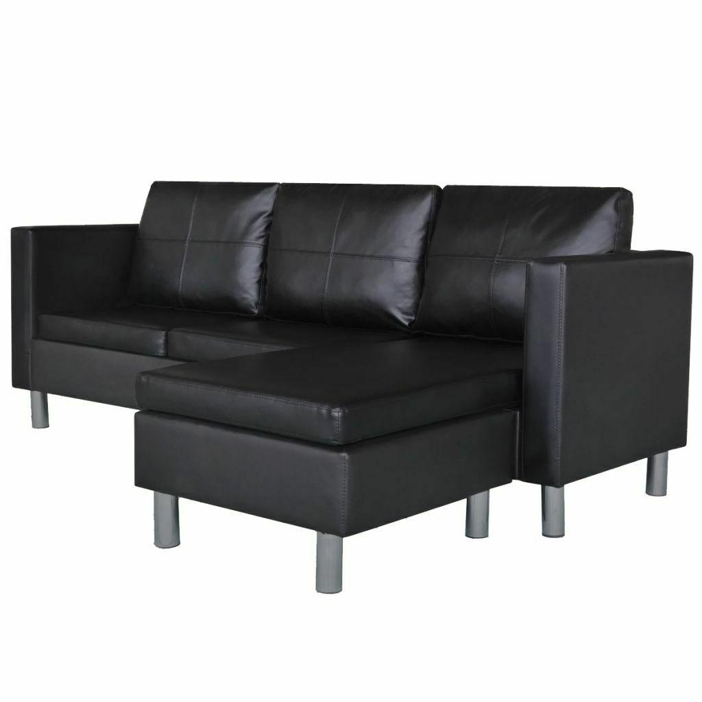 Leather Sofa 3-Seater L-shaped Lounge Room Bed