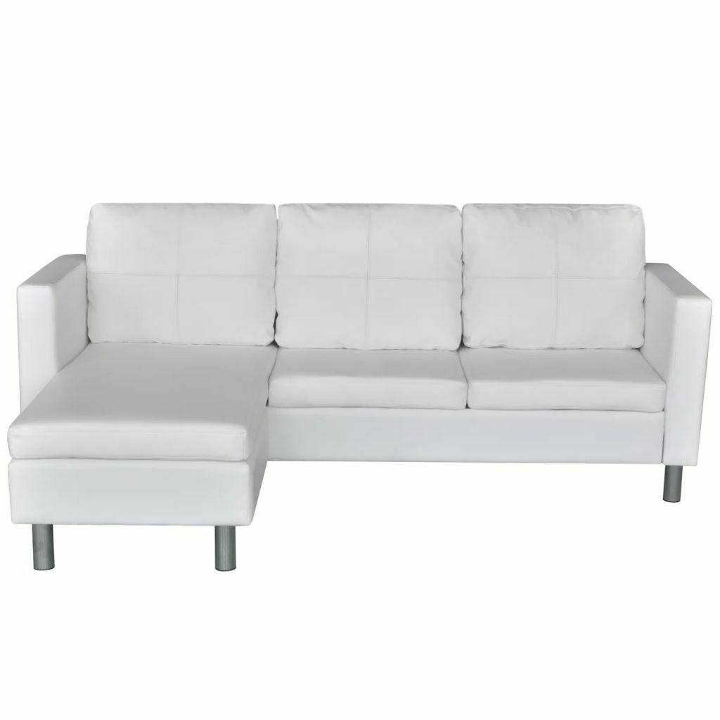 Leather 3-Seater L-shaped Chaise Room Couch