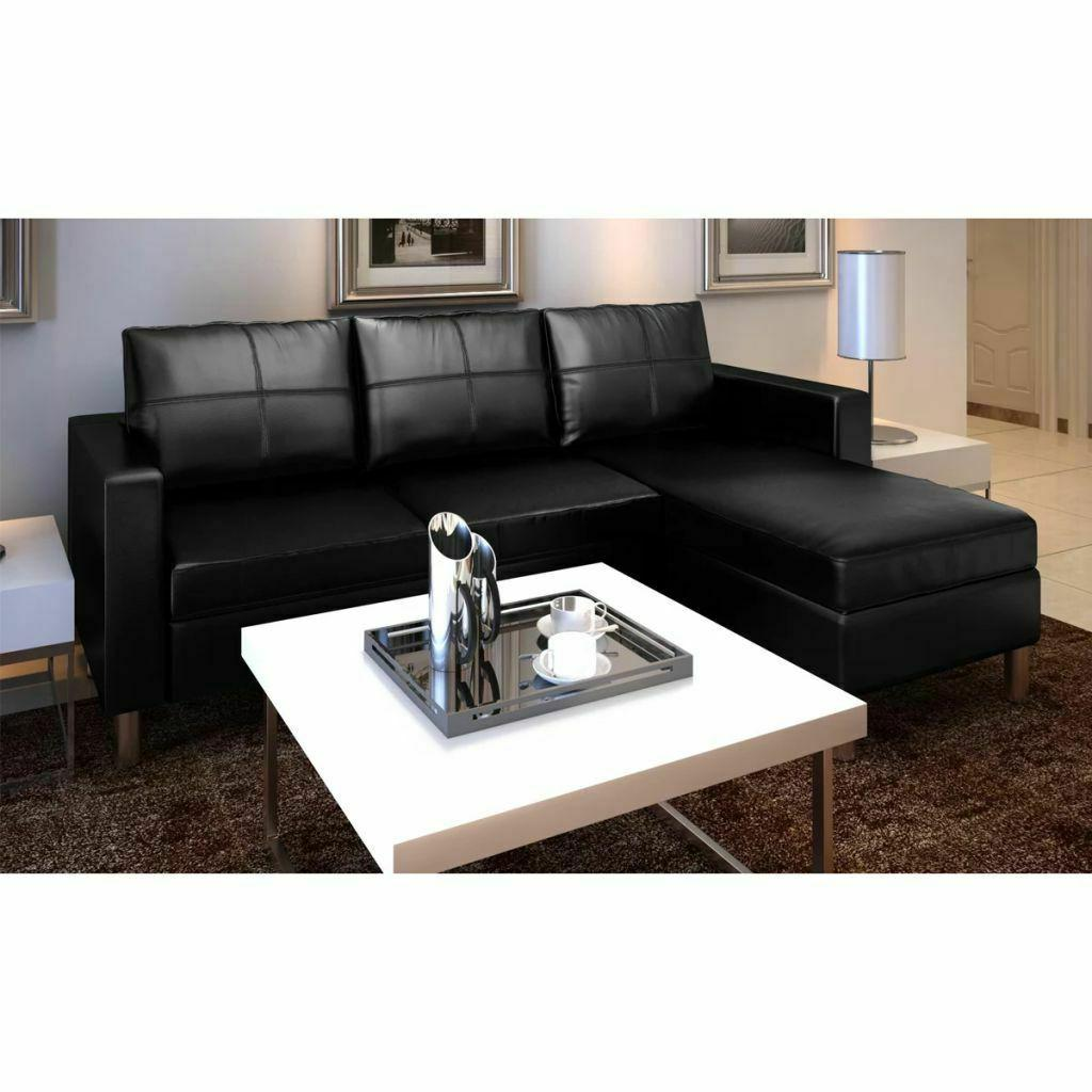Leather Sectional Sofa L-shaped Lounge Living Room